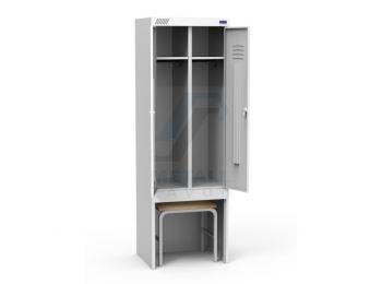 Шкаф металлический для одежды с выдвижной скамьей ШРК 22-600 ВСК (ВхШхГ) 185x60x50 см